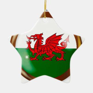 Welsh Proud Flag Button Christmas Ornament