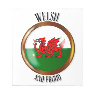 Welsh Proud Flag Button Notepad
