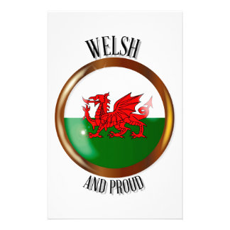 Welsh Proud Flag Button Stationery Paper