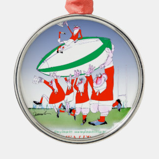 welsh rugby cheers, tony fernandes Silver-Colored round decoration