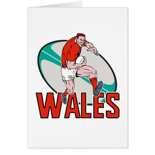 Welsh  Rugby player running ball Wales Card