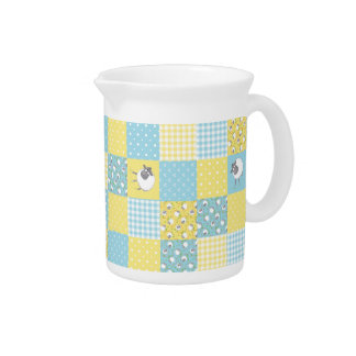Welsh Sheep, Faux Patchwork, Country-Style Pitcher