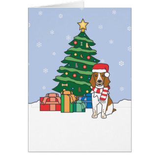 Welsh Springer Spaniel and Christmas Tree Card