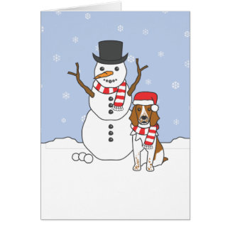 Welsh Springer Spaniel and Snowman Card