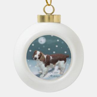 Welsh Springer Spaniel Christmas Ceramic Ball Decoration