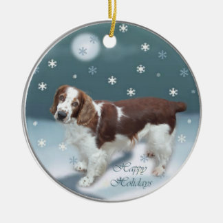 Welsh Springer Spaniel Christmas Gifts Round Ceramic Decoration