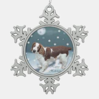 Welsh Springer Spaniel Christmas Snowflake Pewter Christmas Ornament