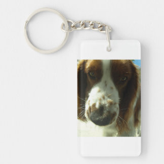 welsh springer spaniel close up.png Double-Sided rectangular acrylic key ring