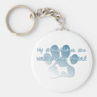 Welsh Springer Spaniel Grandchildren Basic Round Button Key Ring