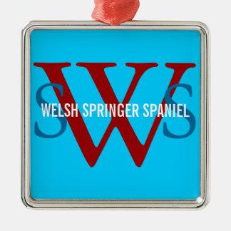 Welsh Springer Spaniel Monogram Silver-Colored Square Decoration