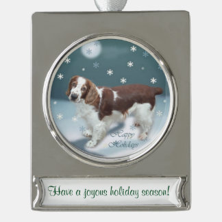 Welsh Springer Spaniel Personalized Christmas Silver Plated Banner Ornament