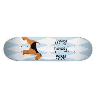 Welsh Terrier - Blue w/hite Diamond Design 19.7 Cm Skateboard Deck