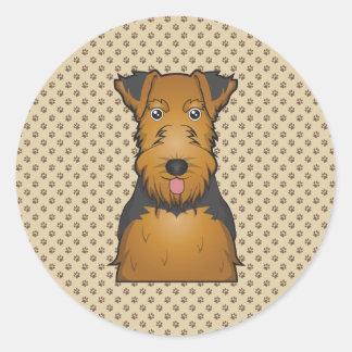 Welsh Terrier Cartoon Classic Round Sticker