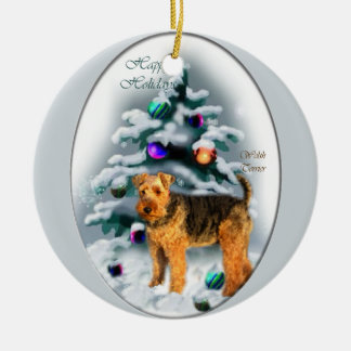 Welsh Terrier Christmas Gifts Round Ceramic Decoration