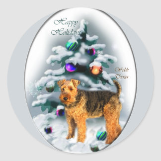 Welsh Terrier Christmas Gifts Round Sticker