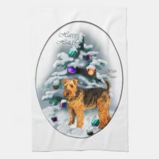 Welsh Terrier Christmas Tea Towel