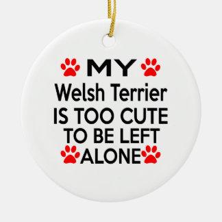 Welsh Terrier Designs Round Ceramic Decoration