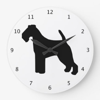 Welsh Terrier dog black silhouette Wallclocks