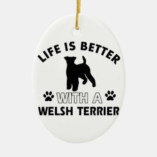 Welsh Terrier dog breed designs Christmas Ornament