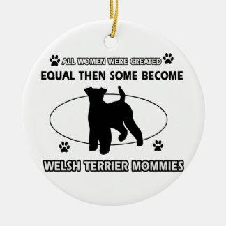 welsh Terrier Mommy Design Round Ceramic Decoration