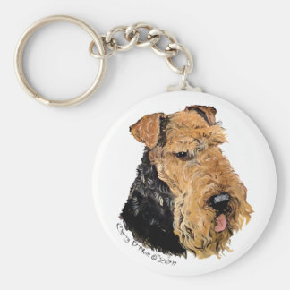 Welsh Terrier Portrait Basic Round Button Key Ring