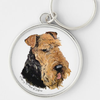 Welsh Terrier Portrait Silver-Colored Round Key Ring