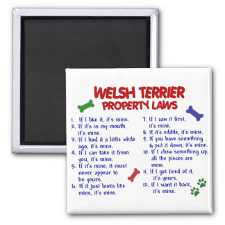 WELSH TERRIER Property Laws 2 Square Magnet