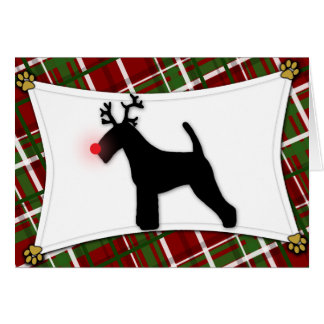Welsh Terrier Reindeer Christmas Card