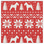 Welsh Terrier Silhouettes Christmas Pattern Red Fabric