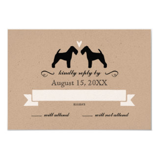 Welsh Terrier Silhouettes Wedding RSVP Reply Card