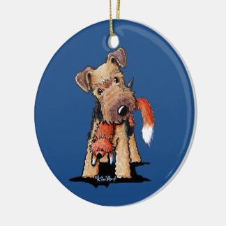 Welsh Terrier With Toy Fox Round Ceramic Decoration