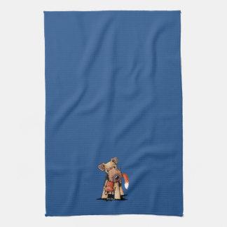 Welsh Terrier With Toy Fox Tea Towel