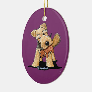 Welsh Terrier With Toy Squirrel Ceramic Oval Decoration