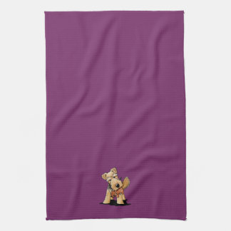 Welsh Terrier With Toy Squirrel Hand Towel