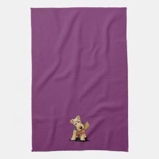 Welsh Terrier With Toy Squirrel Tea Towel