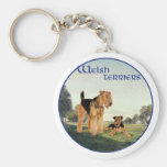 Welsh Terriers Basic Round Button Key Ring