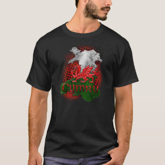 Welsh TShirt Grunge With Dragon And Map Of Wales