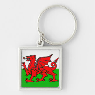 Welsh Wales Keyring Silver-Colored Square Key Ring