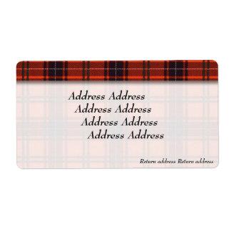 Wemyss clan Plaid Scottish tartan Shipping Label