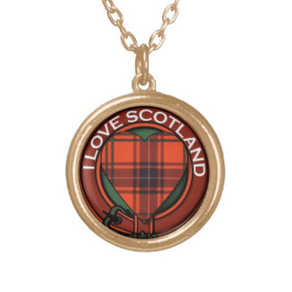 Wemyss Heart Tartan design - I love Scotland Gold Plated Necklace