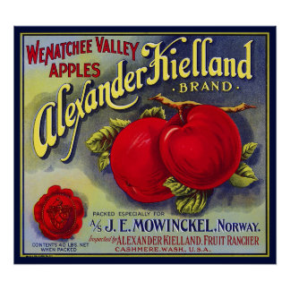 WENATCHEE VALLEY APPLES FRUIT CRATE LABEL 1910 POSTER