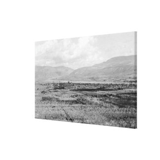 Wenatchee, WA Town View and Orchard Photograph Canvas Print