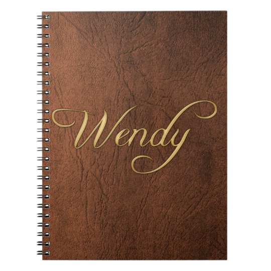 WENDY Faux Leather Brown Texture Arty Notebook