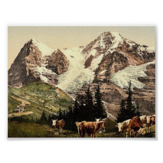 Wengern, Monch and Eiger, Bernese Oberland, Switze Poster