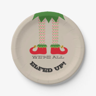 We're All Elfed Up! Funny Christmas Holiday Party Paper Plate