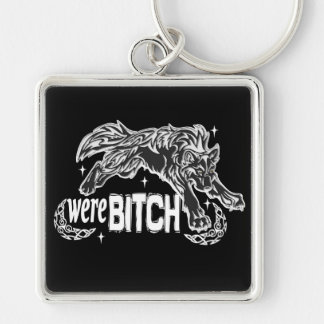 were-BITCH Silver-Colored Square Key Ring