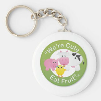 We're Cute, Eat Fruit Basic Round Button Key Ring