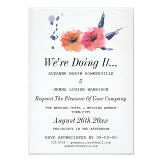 We're Doing It - Floral Lesbian Wedding Invitation