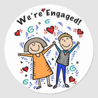 We're Engaged I     Classic Round Sticker