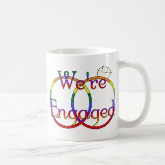 We're Engaged Rainbow Wedding Rings Mug